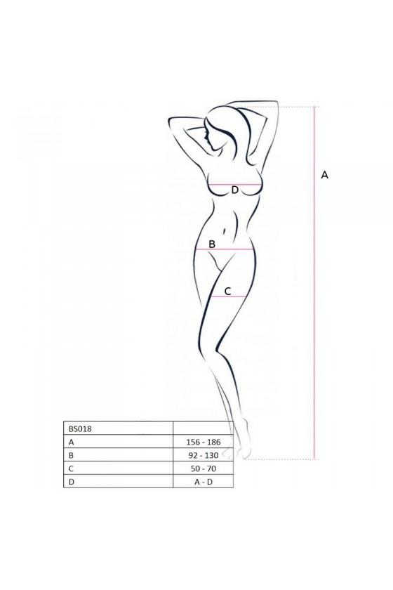 PASSION WOMAN BS018 BODYSTOCKING BLANCO TALLA UNICA