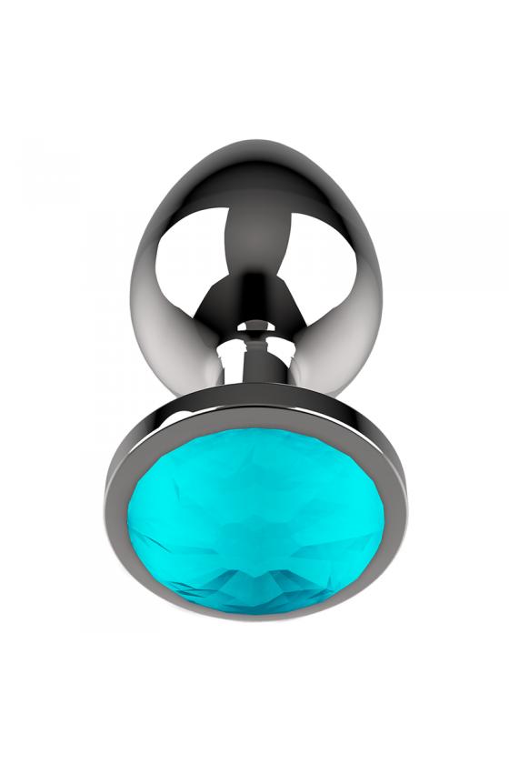 COQUETTE PLUG ANAL DE METAL TALLA M CRISTAL BLUE 3.5 X 8CM